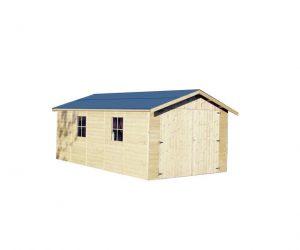 Garaje de Madera De Tejado Azul