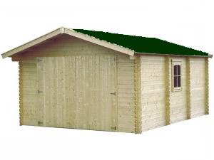 Garaje de Madera con Tejado Verde